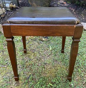 Vintage Singer Sewing Machine Wood Stool Bench Chair w/Storage Vanity Piano