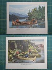 American Hunting Life In The Woods Currier & Ives Vintage Antique Art Print 1952