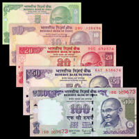 """""""Set Of 5 PCS"""" Banknotes, India 5 + 10 + 20 + 50 + 100 Rupees, In UNC"""