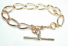 """Antique or 9 carats or rose large open curb lien bracelet 32,6 g 8.5 """""""