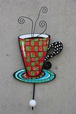 New Whimsical Painted Coffee Cup Wall Hook Red Green Checkerboard