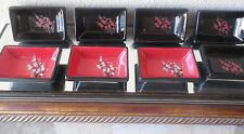 Visun China Dogwood Floral Dish Wasabi Sauce Bowl Black Red set 8 5 chop stands
