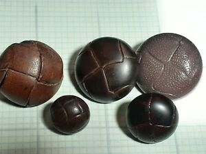 VINTAGE MIXED LOT OF 5 BROWN DOME WOVEN LEATHER & MOLDED BUTTONS