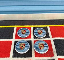Porsche 911 930 944 Fuchs Polished Center Caps Factory OEM Colored Crest (4)