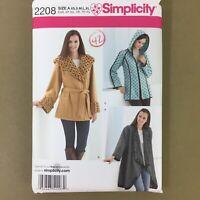 Misses Fleece Jackets 3 designs Simplicity 2208 sewing pattern XS S M L XL uncut