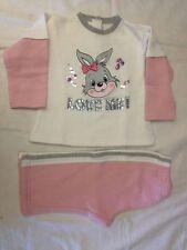 UFFY UFFY - Tuta bianca rosa grigia con disegno di una coniglietta - TG. 12 mesi