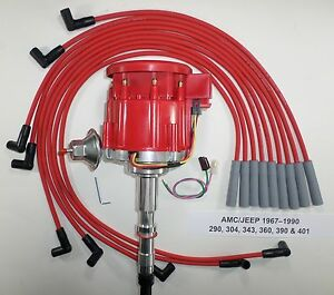 AMC/JEEP 1967-90 290,304,343,360,390,401 HEI DISTRIBUTOR & RED Spark Plug Wires