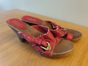LANQIER ITALY DESIGN Shoes Red Leather Mules/Studded Heels/Clogs UK Size 5 EU 38