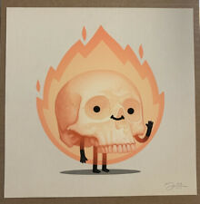 MIKE MITCHELL Flaming Skully Mikeland Cursed Gary SIGNED GICLEE PRINT BLACK BOX
