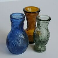 """Vintage Mini Bud Vases Made in Taiwan Set of 3 Approx 3"""" Tall"""