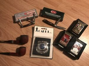 JUNK DRAWER BOX LOT NEW CASE XX KNIVES, Zippo Lighters, VTG Tobacco Pipes, Badge