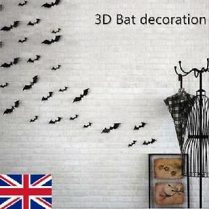 3D DIY Bat Wall Sticker Black Decal Home Party Decoration Halloween 12Pcs