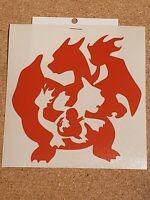 """Handcrafted Pokemon Charizard evolution Orange Vinyl Decal Indoor/Outdoor NEW 5"""""""