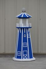 "39"" Octagon Electric and Solar Powered Poly Lighthouse Blue and White"