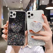 Glitter Case For iPhone SE 2020 XR X 11 7 Plus 8 XS Max 6 + Pop Up Holder Socket
