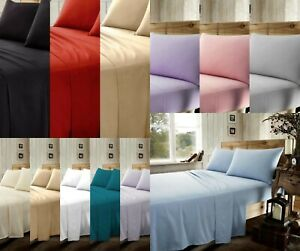 Brushed Cotton Flannellte Bed Sheet Set 1 Flat +1 Fitted+2 Pillowcases All Sizes