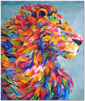 Hand Painted Impressionist Lion Oil Painting Canvas - Colorful Modern Animal Art