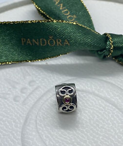 Pandora Double Heart Silver 14ct gold Red Pink Sapphire Clip 790382 Authentic
