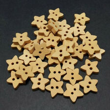 100pcs Natural Wooden Buttons 2 Holes Star Shape Sewing Crafts DIY Daily Goods