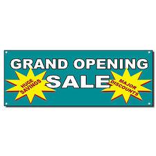 Grand Opening Sale Huge Savings Major Discounts Blue Banner Sign 3 ft x 6 ft