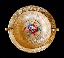 Antique Royal Worcester Hand Painted Signed Floral And Gold Soup Cup & Saucer