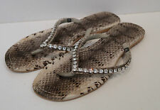 MYSTIQUE Grey & Black Snakeskin Print Diamante Detail Flat Flip Flop Sandals UK7