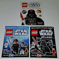 NEW 3 LEGO Star Wars Book Lot Visual Dictionary Heroes Villain Ultimate Sticker