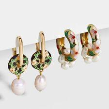 Geometric Flower Earrings Vintage style Circle Huggie Bohemian Pearl Earrings