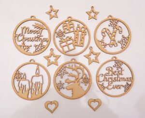Christmas Wooden MDF Blank - Baubles with snowflakes decor theme - 12 items set
