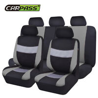 Universal Premium Black Grey Car Seat Covers Protector Breathable For SUV VAN