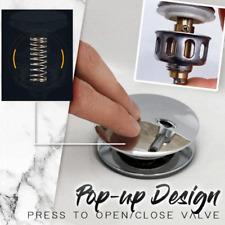Stainless Steel Push-Type Bounce Core Pop Up Bathroom Sink Drain Plug