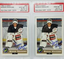 1992 Classic #59 Manon Rheaume Rookie Card PSA GEM MINT 10 CARD AND AUTO!!