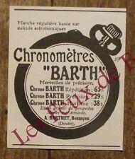 Publicité ancienne Chronométre Barth, Barthet  1910, advert