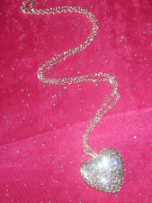 Large RHINESTONE HEART Silver Necklace Long Chain BLING NEW