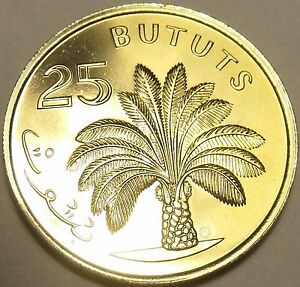 Gambia 25 Bututs, 1971 Rare Proof~1st Year~Oil Palm Tree~32,000 Minted~Free Ship