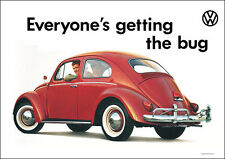 VW Beetle Red Classic Showroom Advertising Car Picture Poster Print A1 & A3