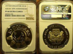 Singapore 1977-SM NGC PF-66 Ultra Camée ~ Asean 10th Anniversaire ~10k Minted ~
