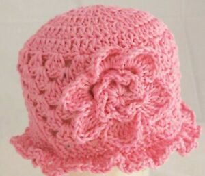 HAND CROCHETED BABY GIRL PINK SUN HAT shower gift 100% cotton flower brimmed