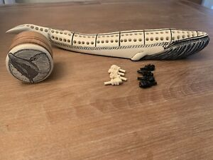 Vintage Faux Bone Scrimshaw Cribbage Whale With Pegs And Small Case Etched