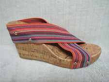 MONTEGO BAY CLUB -Multi Color Striped Wedge Cork Slip On Sandals Shoes -Size 9 M