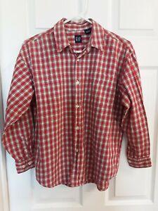 Gap Boys L/S Red Plaid Button Down Shirt W/Collar & Pocket Size L