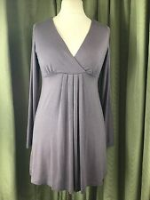 The White Company Grey Cross Over V Neck Jersey Mini Dress Top 10-12 EU38-40