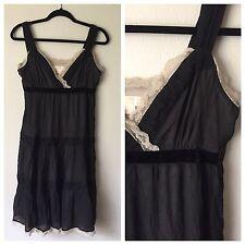 Michael Kors Silk Dress • Size 8 • Black Tiered Chiffon w/ Velvet & Lace Accents
