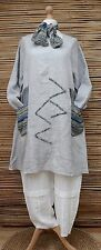 """LAGENLOOK BEAUTIFUL 100% LINEN A-LINE 2 POCKETS TUNIC+SCARF*GREY*BUST UP TO 50"""""""