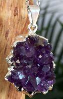 Amethyst Druze Pendant Silver Plated Amethyst Geode Quartz Crystal Gem Specimen