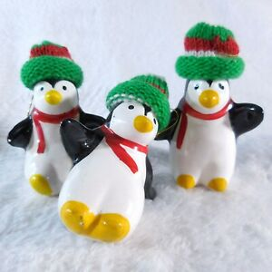 """3 Ceramic Penguin Figurines Christmas Tree Ornaments 3""""H Real Knit Caps"""