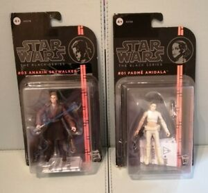 "Star Wars The Black Series 3.75 "". #01 Padme Amidala & #03 Anakin Skywalker."
