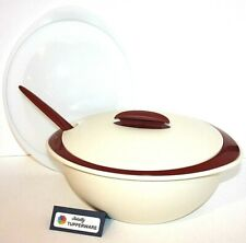 Tupperware Insulated Oval Server Microwave Safe 10.5 13 Cup Cinnamon Cream