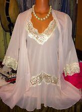 Vintage Pink Robe Peignoir Nylon Babydoll Chemise Antique Lace Set M