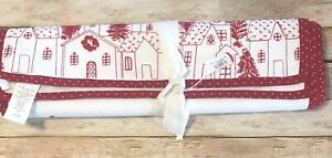 """Pottery Barn Table Runner 18"""" x 108"""" Embroidered Village Christmas Holiday NEW"""